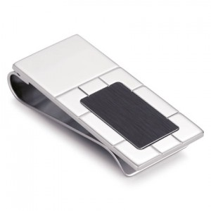 Stainless Steel money clip with geometric details. Available in satin finish and black stainless steel.