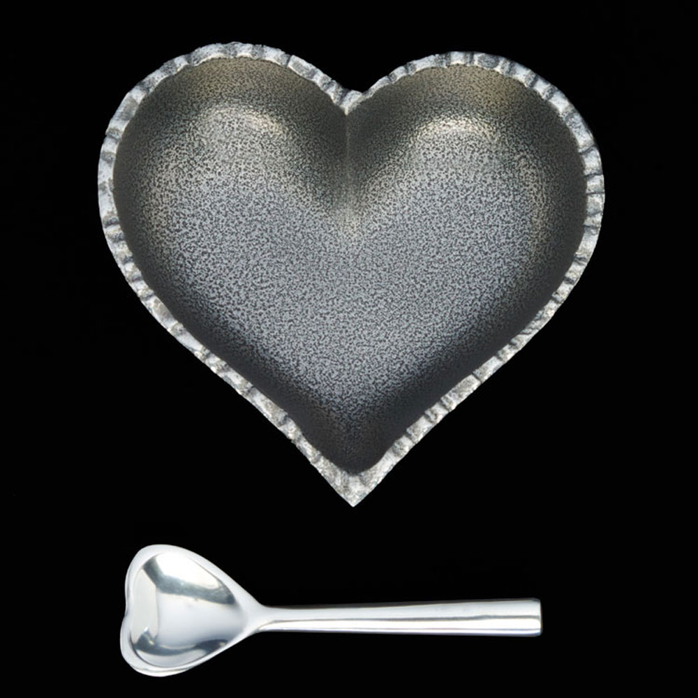 Happy Jazzy Silver Heart with Heart Spoon